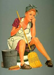 Sitting Tired House Cleaning Woman